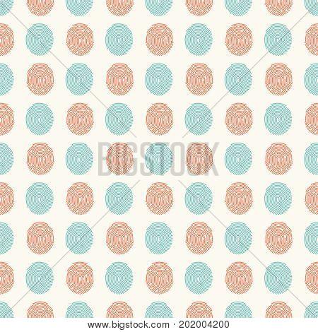 Abstract seamless pattern with fingerprints. Background design with fingerprint, vector illustration
