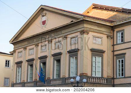 LUCCA, ITALY - MAY 23, 2017: Teatro comunale del Ciglio at Piazza Napoleone (Napoleone square).