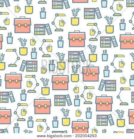 Office stationery and equipment seamless pattern with stationery illustration vector