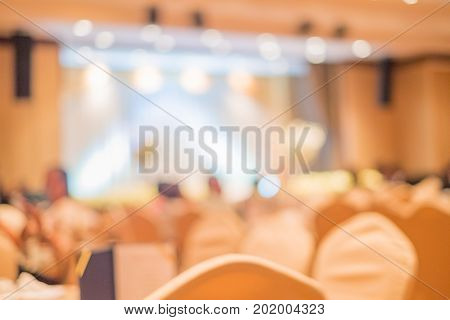 Abstract Blurred Image Of Large Dining Table Set For Wedding, Dinner Or Festival Event With Beautifu
