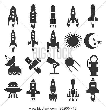 Rocket and spaceship, astronomy icons design. Spaceship and satellite, vector illustration