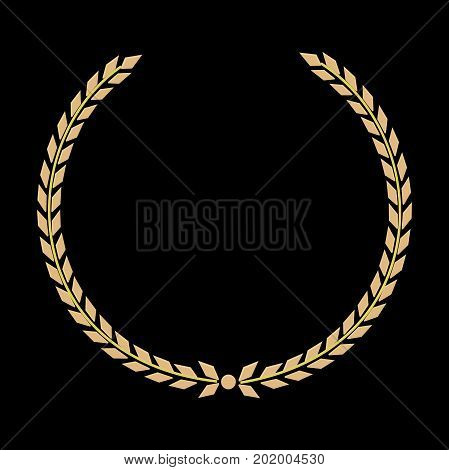 Vector Golden Laurel wreath. Label winner a symbol of victory triumph and success on a black background. Vector
