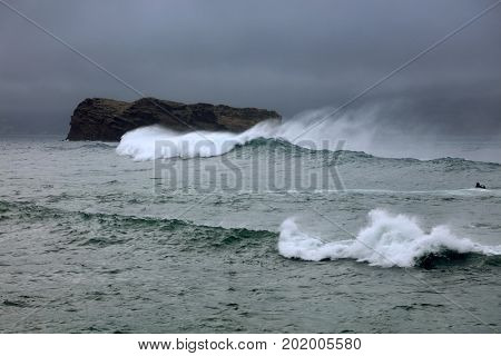 Stormy ocean waves in the Pacific Ocean
