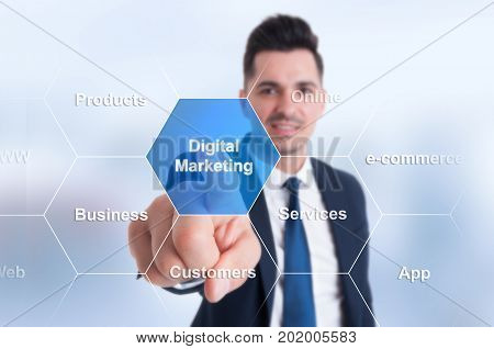 Businessman Using Smart Interface With Button And Icons