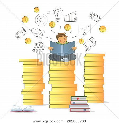 Business training, education, learning, knowledge. Illustration flat line design. Visual metaphor of modern financial education. Child sitting on a stack of coins. Financial literacy concept.