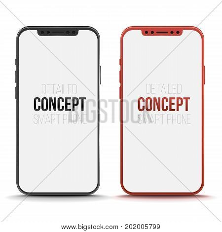 Set of conceptual smart phone. Vector mock up to present your app design. Mobile phone mock up. Vector illustration
