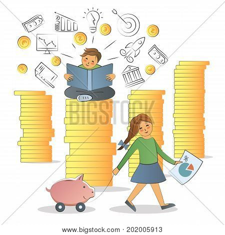Business training, education, learning, knowledge. Illustration flat line design. Visual metaphor of modern financial education. Boy sitting on a stack of coins, girl carries a piggy Bank.