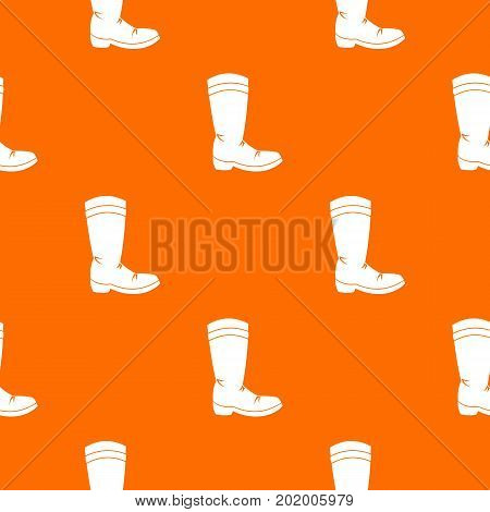 Cowboy boot pattern repeat seamless in orange color for any design. Vector geometric illustration