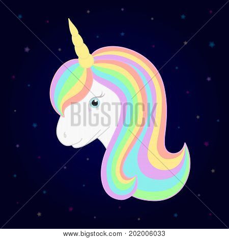 Cute unicorn. Vector unicorn head with beautiful rainbow mane and horn. Starry background. Great for for kids t-shirt print invitations and greeting cards.