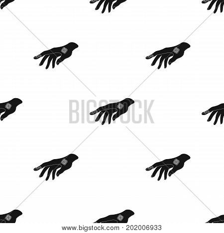 Bactericidal plaster on the arm. Medicine single icon in black style vector symbol stock illustration .