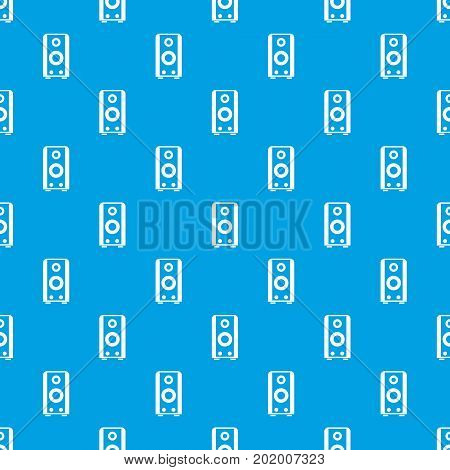 Black sound speaker pattern repeat seamless in blue color for any design. Vector geometric illustration