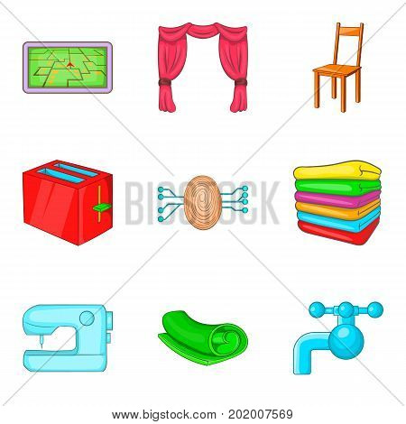 Restroom icons set. Cartoon set of 9 restroom vector icons for web isolated on white background