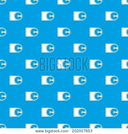 DVD drive open pattern repeat seamless in blue color for any design. Vector geometric illustration