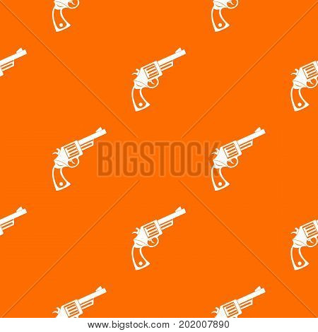Vintage revolver pattern repeat seamless in orange color for any design. Vector geometric illustration