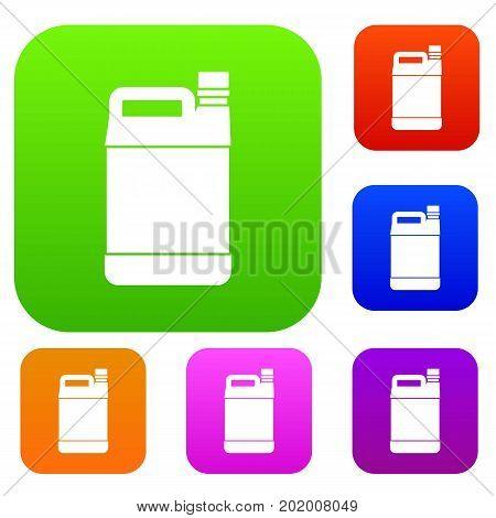 Jerrycan set icon in different colors isolated vector illustration. Premium collection