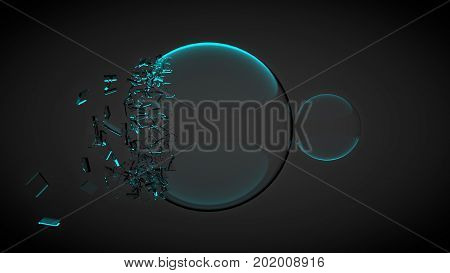 Two balls, one of them broken, with splinters. With blue light. 3D render.