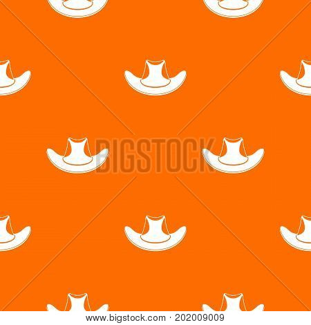 Cowboy hat pattern repeat seamless in orange color for any design. Vector geometric illustration