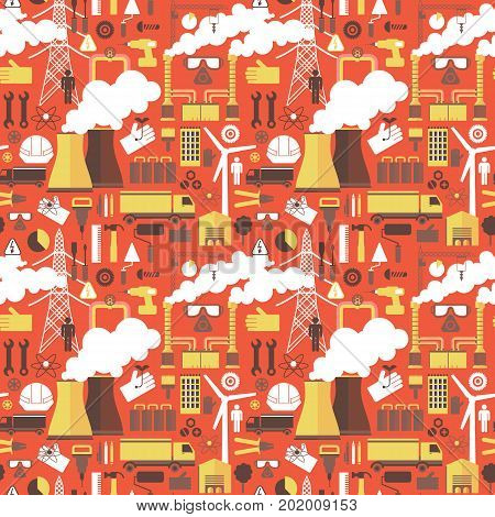 Industrial seamless pattern with windmill thermal power station power line support icons on red background flat vector illustration
