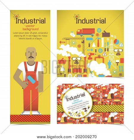 Set of banners in red yellow colors with industrial equipment and workman isolated vector illustration