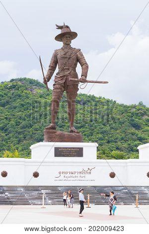 PRACHUAP KHIRI KHAN THAILAND - AUGUST 26 : unidentified people visit Rajabhakti Park with King Taksin the great Monument on August 26 2017 in Prachuap Khiri Khan Thailand