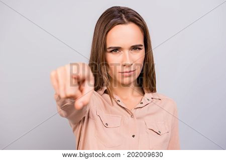 You! Strict Brown Haired Business Lady Is Choosing You, Pointing At The Screen, Wearing Beige Shirt,