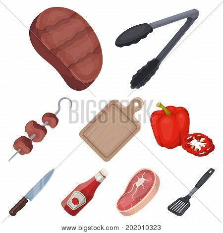 Meat, steak, firewood, grill, table and other accessories for barbecue.BBQ set collection icons in cartoon style vector symbol stock illustration .