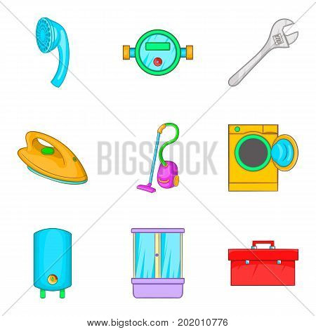 Master icons set. Cartoon set of 9 master vector icons for web isolated on white background