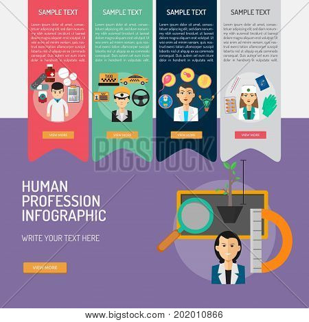 Infographic Human Profession | Set of great infographic flat design illustration concepts for human, people, profession, business and much more.