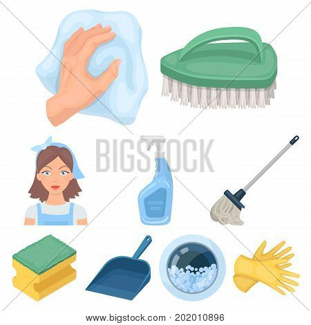 Cleaning, washing and everything connected with it. A set of icons for cleaning. Cleaning and maid icon in set collection on cartoon style vector symbol stock web illustration.