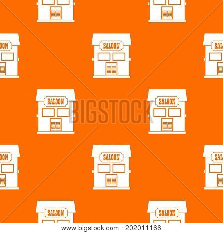 Western saloon pattern repeat seamless in orange color for any design. Vector geometric illustration