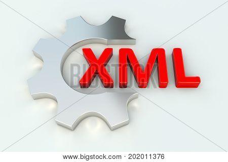 XML gear wheel white background 3d illustration