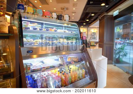 HONG KONG - OCTOBER 25, 2015: food and drinks on display at Pacific Coffee in Hong Kong