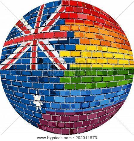 Ball with Australia and Gay flags - Illustration,  Abstract grunge Australia flag and LGBT flag in brick style