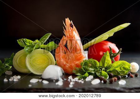 Shrimp Prawn Serving With Leek, Basil, Ice Against Black Background. Seefood Diet Concept. Healthy F