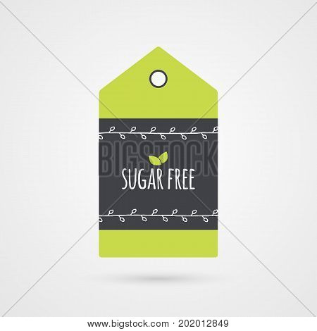 Sugar Free label. Food icon. Vector green white and gray shopping tag sign isolated. Illustration symbol for product packaging healthy eating lifestyle diabetic merchandise shop menu logo