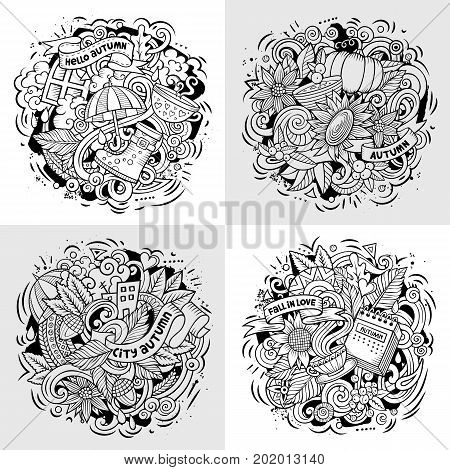 Autumn cartoon vector doodle illustration. Line art detailed designs with lot of separate objects and symbols. 4 composition set