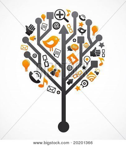Social network tree with media icons