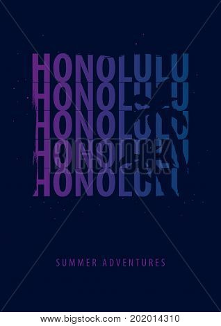 Honolulu Beach Summer Graphic With Palms. T-shirt Design And Print.