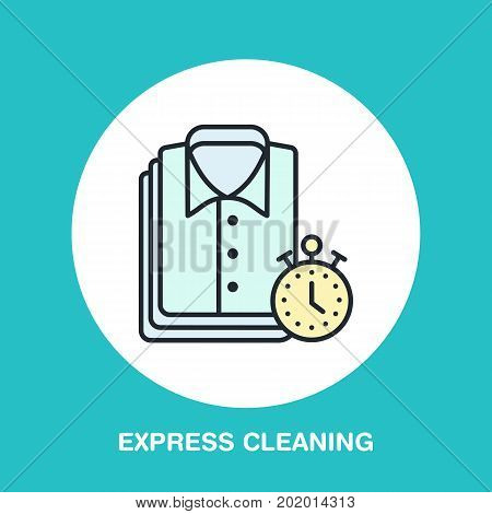 Express dry cleaning icon, laundry line logo. Flat sign for launderette service. Logotype for clothing cleaning business.