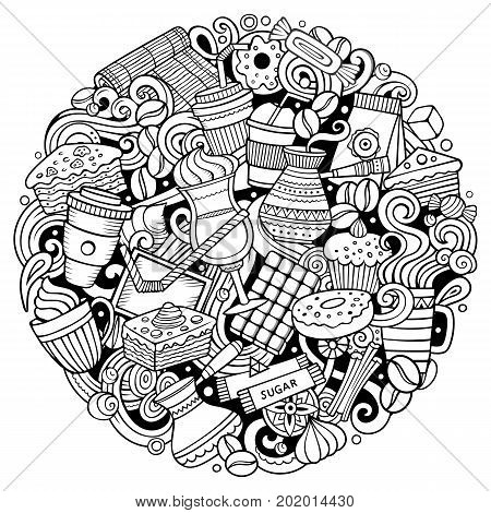 Cartoon vector doodles Coffe shop illustration. Line art, detailed, with lots of objects background. All objects separate. Outline Cafe funny round picture
