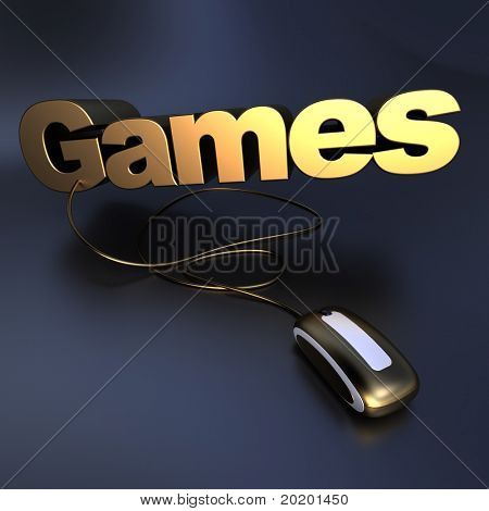 3D illustration of the word games in gold connected to a computer mouse