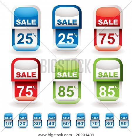 Collection of discount sale tags with different percentage prices