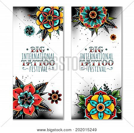Old school tattoo art flowers vertical banners. Old school tattoo flowers. Vector illustration