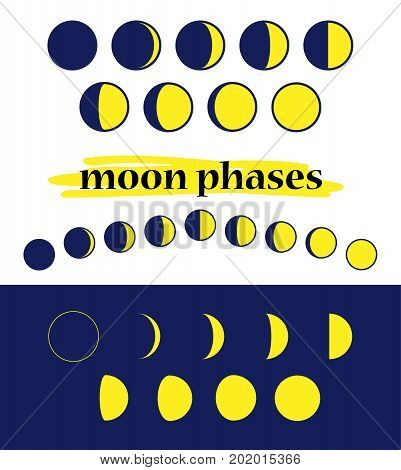 Moon phases. Whole cycle from new moon to full moon.