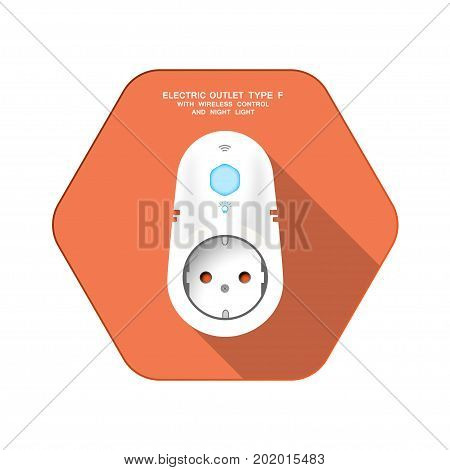 Vector isolated icon of white electric socket type F with night light and wireless control on the red hexagon background with shadow for use in Europe.