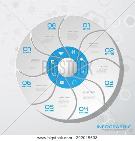 Vector infographic of round segmented form cut from paper with shadows text and icons on the gradient gray background with hexagon pattern.