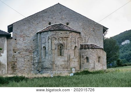 The Romanesque church of San Zaccaria near Godiasco (Pavia Lombardy Italy): apse