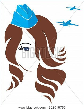 Illustration for buisness flight attendant. Vector abstract girl stewardes. Greeting card, banner, cover.