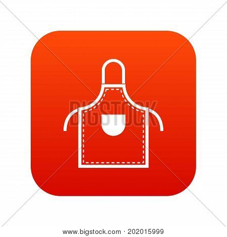Welding apron icon digital red for any design isolated on white vector illustration