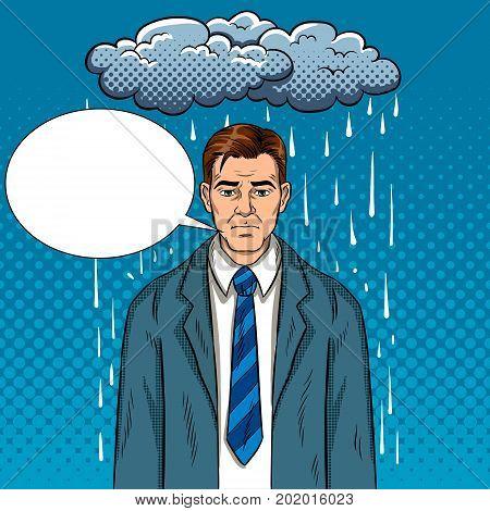 Man with bad mood pop art retro vector illustration. Bad day. Comic book style imitation.